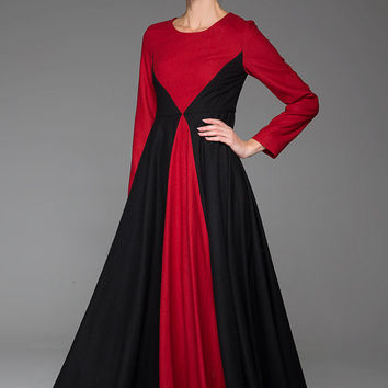 Red black wool dress winter warm dress maxi dress 1445