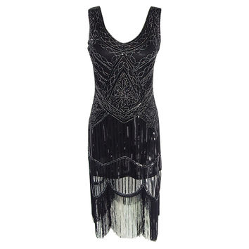 Women's 1920s Sequins Dress Shining Flapper Dress 1920s Vintage Gatsby Dress Great Gatsby Charleston Sequin Tassel Party Dress