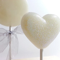 Heart Lollipops, Winter Wonderland, White Wedding Favor, Party Favors, Heart Candy, Lollipops, Sweet Caroline Confections- -Set of Six