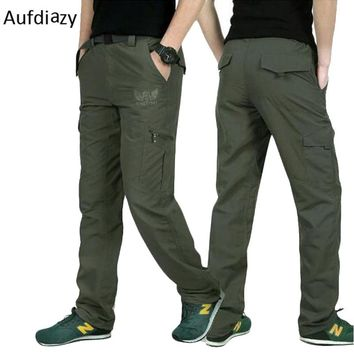 Aufdiazy Summer Men Quick Dry Hiking Pants Army Green Male Military Style Cargo Pants Trekking Climbing Camping Trousers JM046