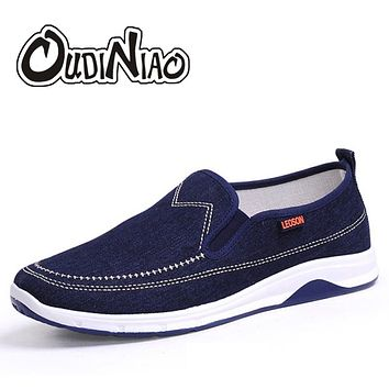 OUDINIAO Men Shoes Canvas Denim Slip On Men Casual Shoes New 2018 Plimsolls Breathable Male Footwear Spring Sneakers Dark Blue