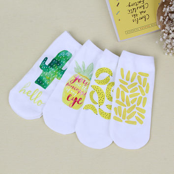 2016 fall new women's socks high quality fashion cartoon tropical fruit printing cotton socks for women gift socks
