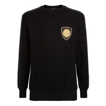 Leather Trim and Gold Crest Sweater by Balmain