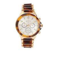 FOREVER 21 Tiger Eye Chronograph Watch Brown/Gold One