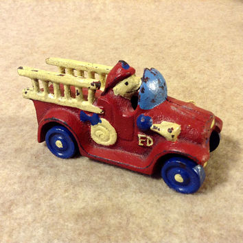 Vintage Cast Iron Toy Fire Truck, Ladder Truck with Dog Driver, unusual, unmarked, red, blue, yellow,