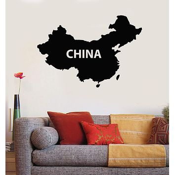 Vinyl Wall Decal China Map Chinese Asian Decor Stickers Mural Unique Gift (528ig)