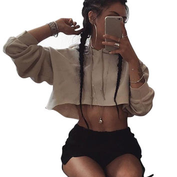 0fbef314b70 Hooded Cut Out Halter Short Sweatshirts Casual Pullovers Women Sudaderas  Girls Hoodie Woman Cropped Tops Tracksuits