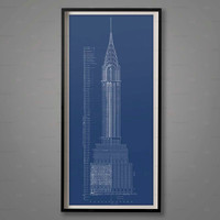 CHRYSLER BUILDING BLUEPRINT, Elevation, Plans, Chrysler Building Floorplan, Chrysler Building Architecture, Decor, Large Wall Art, Architect