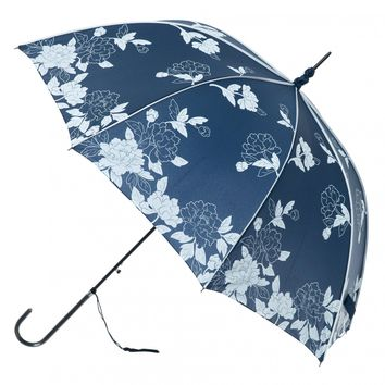 Vintage Navy and White Leaves Umbrella