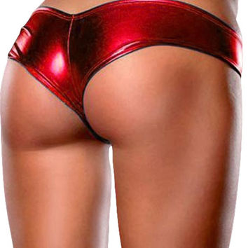 Women Sexy Underwear Lingerie Shine Metallic Hot Pants Shorts Panty Thong One Size 8 Colors Cotton Blends High elastic