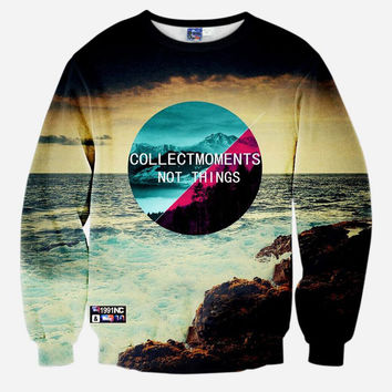 Collect Moments Not Things All Over Print Beach Crew Neck Sweatshirt