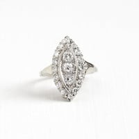 Vintage 14K White Gold .93 CTW Diamond Shield Ring - Art Deco 1940s Size 7 3/4 Marquise Halo Cluster Engagement Statement Fine Jewelry