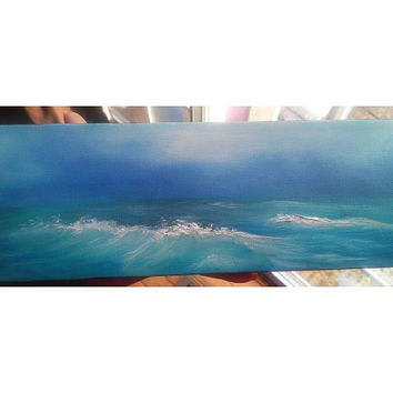 "Waves Seascape Ocean and Sky Original Oil Painting 4"" x 12"" READY to SHIP"