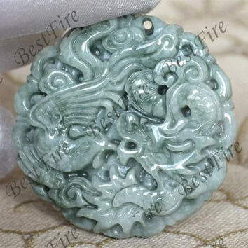 Unique Chinese Carving dragon and phoenix Lucky Jade Pendant Beads gemstone pendant Carved Jade Pendan,Carved Jade Pendant