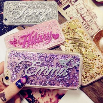 DCK9M2 For 5s SE 6s plus Samsung s5 s6 s7 edge plus note 4 5 Thailand Luxury Exclusive Customize Name Personal Glitter soft phone case