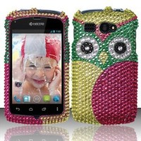 Green Pink Owl Rhinestone Hard Case Snap On Bling Cover For Kyocera Hydro C5170