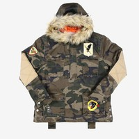 Camo Pullover Fur Hooded Jacket