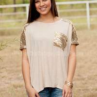 A DASH OF SPARKLE TOP IN BEIGE