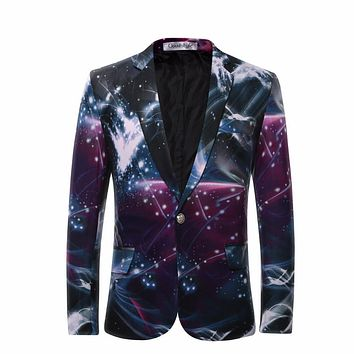 Cloudstyle 2017 Men's Blazers Galaxy Printed Business Casual Suit Formal Groom tuxedos Wedding Dress Beautiful Design Suits
