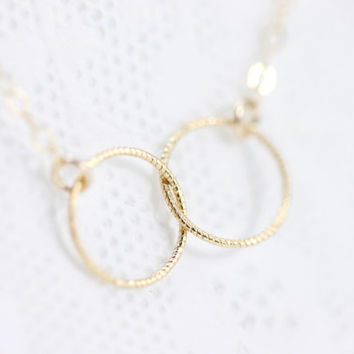 Infinity Circle Necklace - simple 14k gold filled entwined circles, gift under 25