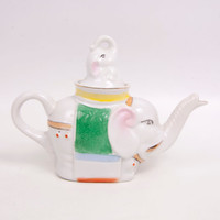 Vintage Elephant Teapot Baby Elephant Lid 2 Cup Tea Pot Good Luck Elephant Individual Pot