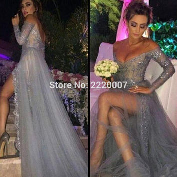 New Fashion Sexy Long Sleeves Dresses Party Evening A Line Off Shoulder High Slit Vintage Lace Grey Prom Dresses Long Chiffon