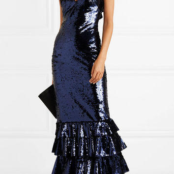 Monique Lhuillier - Tiered sequined mesh gown