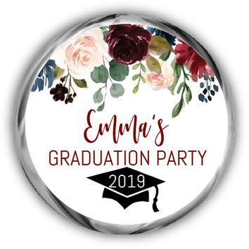 Burgundy Graduation Kisses Stickers