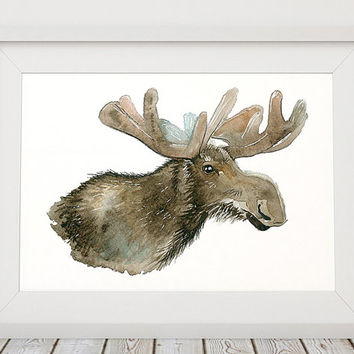 Watercolor print Moose art Animal poster Wildlife print ACW551
