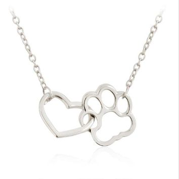 Linked Heart Dog Paw Pendant Necklaces Gold Silver Pet Dog Animal Jewelry Gift for Dog Owners