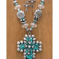 M&F Western Products Large Turquoise Stone Cross Jewelry Set