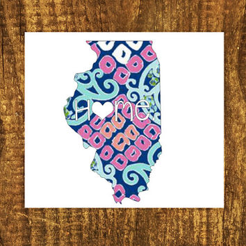 LILLY PULITZER Illinois Home Decal | Illinios State Decal | Homestate Decals | Love Sticker | Love Decal  | Car Decal | Car Stickers | 053