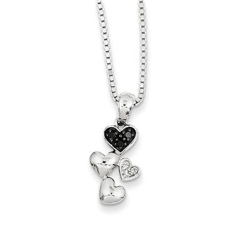 Black & White Diamond Small Cascading Heart Sterling Silver Necklace