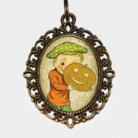 Pumpkin Boy Necklace, Halloween, Thanksgiving, Autumn, Fall Jewelry, Oval Pendant