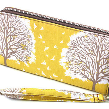 Handmade  Women Zip around clutch wallet with The fabric by meesia