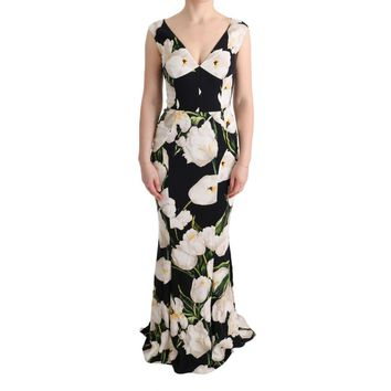 Dolce & Gabbana Tulip Print Floral Stretch Sheath Dress