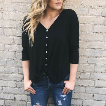 Shelby Waffle Knot Top   Black
