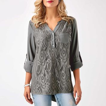 Women Plus Size Tops Back Chic Button Ruched Style Lace Chiffon Blouse Black Gray Burgundy Casual Lace Shirt