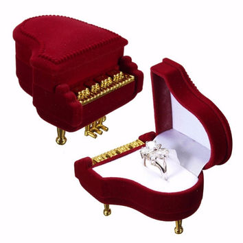 Piano Ring Box Earring Pendant Necklace Jewelry Treasure Gift Case Wedding J4U66