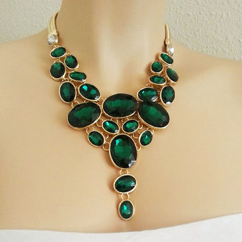 Emerald Wedding Necklace - Green Bridal Jewelry Necklace - Rhinestone Necklace - Gold - Vintage Style - Chunky - Statement  Wedding Jewelry