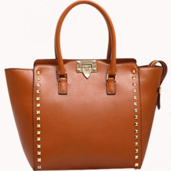 PopStar Leather Medium Tote Camel #12223