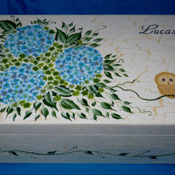 Decorative Hand Painted Personalized Wood Baby Keepsake Memory Box Owl Baby Girl Baby Boy Hydrangea Nursery Baby Shower Gift