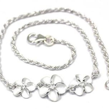 SILVER 925 HAWAIIAN 8MM-10MM-8MM PLUMERIA ROPE CHAIN ANKLET CZ 9 1/2+
