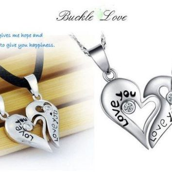 PEAPIX3 Pair 925 Sterling Silver Leather Necklace Couple Heart Pendant Chain 'Love You' (Color: Silver) = 1929763204
