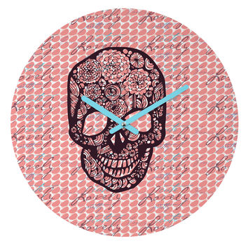 Julia Da Rocha Lovely Skull Round Clock