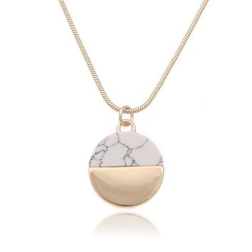 Gold Dipped Marble Pendant Necklace