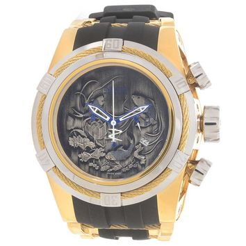 Invicta 14195 Men's Bolt Zeus Reserve Gold Tone Wire Bezel Grey Koi Fish Dial Gold Steel & Rubber Strap Dive Watch