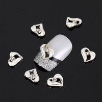 Leegoal Silver Heart Love 10 pieces Silver 3D Alloy Nail Art Slices Glitters DIY Decorations by leegoal