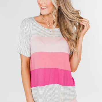 One Day At A Time Striped Color Block Top- Shades of Pink