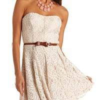 Bow Belt Lace Tube Dress: Charlotte Russe